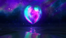 Glowing Heart Shape Colored Moon Texture With Galaxy Background And Realistic Sea Water Reflection