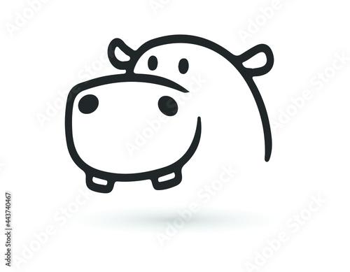 Fotografie, Tablou Hippopotamus vector icon on white background