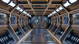Science background fiction interior rendering sci-fi spaceship corridors yellow light.