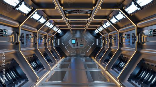 Fotografie, Tablou Science background fiction interior rendering sci-fi spaceship corridors yellow light