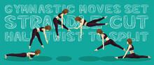 Gymnastic Moves Set Straddle Cut Half Twist To Split Manga Cartoon Vector Illustration