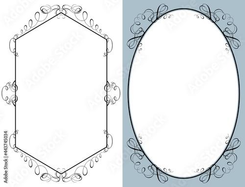 Fotografia ビンテージ, エレガントな飾り罫, 飾りコーナーフレームのイラストセット デコラティブフレーム