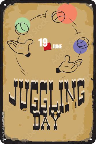 Fotografía Vintage sign Juggling Day