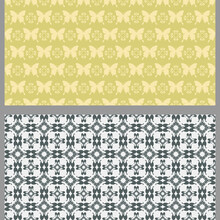 Abstract Background Patterns With Decorative Elements In Vintage Style. Set. Used Colors: Black, White, Light Green, Wallpaper. Seamless Pattern, Texture. Vector Image