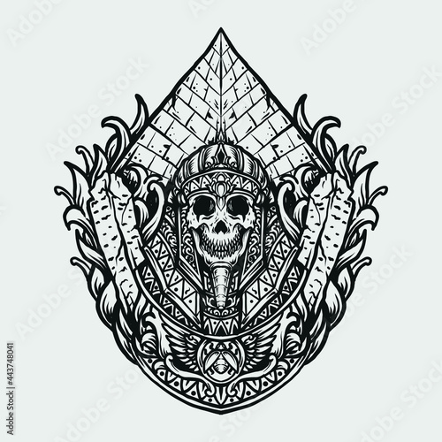 Billede på lærred tattoo and t shirt design black and white hand drawn egyptian king skull engravi