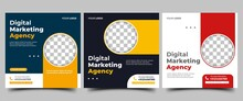 Digital Marketing Agency Social Media Post Template Design Collection. Modern Banner With Place For The Photo. Usable For Social Media, Banner, And Website.
