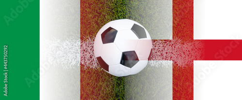 Fotografia italy and england national flags mixed with football ball