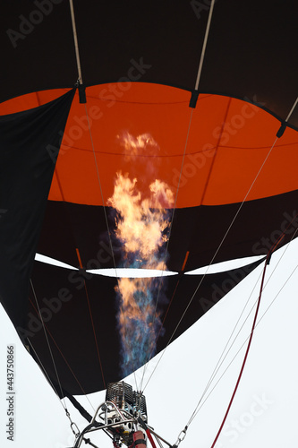Fototapeta colorful hot air balloons in the start of journey trip for background