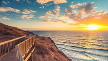 Hallett Cove Boardwalk Along The Rugged Coastline At Sunset, South Australia