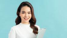 Happy Asian Female Lawyer Holding Folder With Mock Up Area