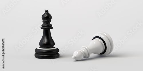 Foto Black chess bishop wins white