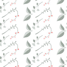 Vector Illustration, Seamless Pattern With Leaves, Twigs, Flowers In Green, Red On A White Background