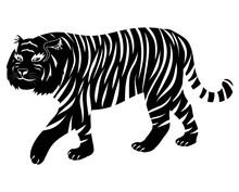 Simple Design Of Tiger Isolatedon White Background
