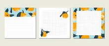 Planner, Page Template. Mandarin, Tangerine, Orange, Citrus Fruit. Perfect For Schedule, Organizer Design, Calendar For Study, School Or Work, Printable