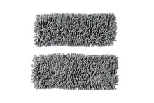 Top View Gray Refill Rectangle Mop Microfiber Show Backside And Front Side On White Background Isolated And Clipping Path. Material Use Cleaning Home.