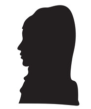 Elegant Muslim Lady Head With A Scarf. Beautiful Female Face In Profile. Silhouette Muslim Woman In Profile Wearing A Hijab. Young Arab Girl Avatar