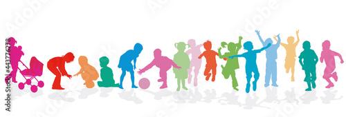 Kinder Gruppe vergnügt beisammen, Illustration Tapéta, Fotótapéta