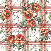 Roses Flowers With Typography And Tartan Plaid Background Abstract Vintage Vector Seamless Pattern