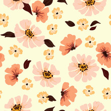 Cute Seamless Pattern With Pink Flowers, Abstractly Arranged Flower Heads And Leaves. Delicate Floral Print For A Variety Of Surfaces. Vector.