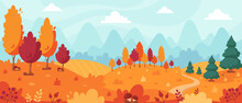 Autumn Landscape With Trees, Mountains, Fields, Leaves. Countryside Landscape. Autumn Background. Vector Illustration