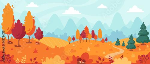 Fotografia Autumn landscape with trees, mountains, fields, leaves