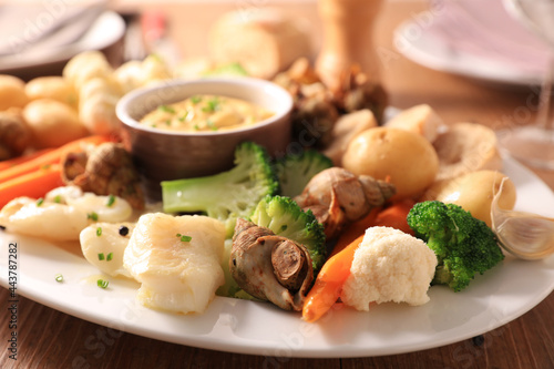 Canvas Print vegetable, fish and dipping sauce- aioli