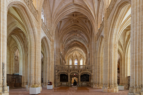 BOURG-EN-BRESSE, FRANCE, June 29, 2021 : Gothic interior of Brou Royal Monastery church