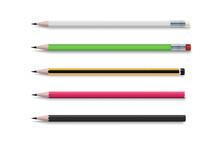 Realistic Bright. 3d Pencil Set For Paper Design. Realistic Vector Set Of Classic Simple Wooden Graphite Pencils.