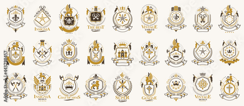 Fotografie, Obraz Vintage heraldic emblems vector big set, antique heraldry symbolic badges and awards collection, classic style design elements, family emblems