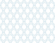 Abstract Geometry Pattern In Arabian Style. Seamless Vector Background. White And Blue Graphic Ornament. Simple Lattice Graphic Design