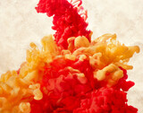 Fototapeta Kawa jest smaczna - Red and yellow paint splash