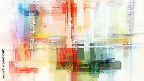 Fotografie, Obraz Pastel color palette brush strokes, transparent rectangles