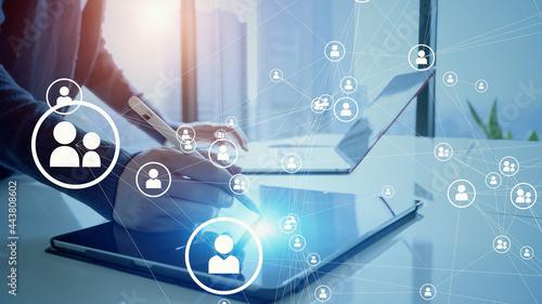 Obraz na płótnie 人とネットワーク 人材管理システム人とネットワーク