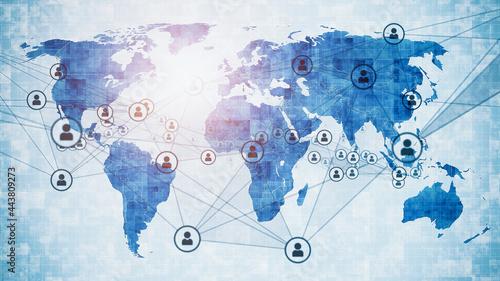 Canvastavla 世界地図と人のネットワーク グローバルビジネス