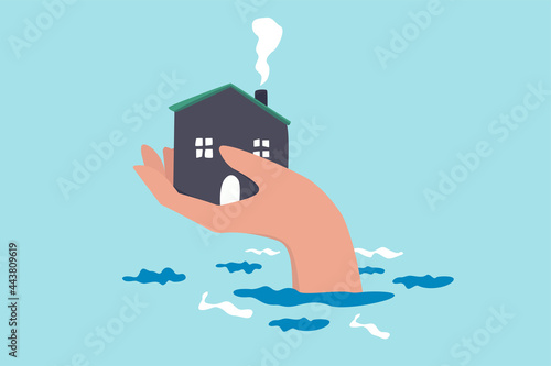 Photo House insurance protection from disaster, safety and rescue from storm and flood, home care concept, big human hand helping house above flood water level protect from damage