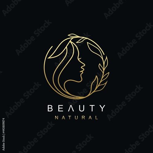 Line Art Natural Beauty woman face logo design Fototapet