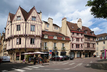 Dijon, France. Old Half-timbered Buildings On Auguste Comte Street