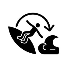Carve Surfing Maneuver Black Glyph Icon. Turning Board Through Complete Angle On Wave Face. Full Three-hundred-and-sixty-degree Rotation. Silhouette Symbol On White Space. Vector Isolated Illustration