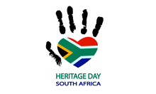 Hand With The Flag Of South Africa For Heritage Day, Vector Art Illustration.