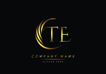 Alphabet Letters TE Monogram Logo, Gold Color Elegant Classical