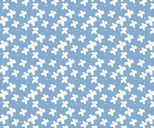 White Tiny Flower And Sprinkles  Repeat Pattern  On Blue Background