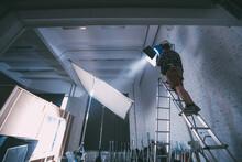 Illuminators With Lighting Equipment, Lighting Devices On The Set.