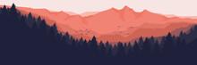 Sunrise Over The Mountain Forest Landscape Flat Design Vector Illustration For Wallpaper, Background, Backdrop Design, Template Design And Tourism Design Template