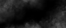 Gray Smoke Clouds On Black Color Abstract Watercolor Background