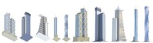 10 View From Below Highly Detailed Renders Of Fictional Design Modern Houses With Blue Sky Reflections - Isolated, 3d Illustration Of Skyscrapers