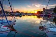 Yacht Marina In Gdynia At Sunset, Poland