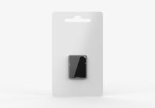 Memory Card Hang Tab Packaging Blank Template, 3d Render Illustration.
