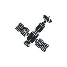 Satellite Icon Silhouette Illustration. Space Technology Vector Graphic Pictogram Symbol Clip Art. Doodle Sketch Black Sign.