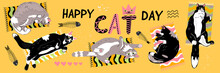 Happy Cat Day Poster Or Banner With  Lying Cats In Various Poses On Rugs, Top View.Flat Cartoon Style Pets And Decorative Elements With Greeting Text On Yellow Background. Vector Promotional Template.