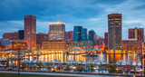 Fototapeta Kuchnia - View on Baltimore skyline and Inner Harbor from Federal Hill at dusk, Maryland